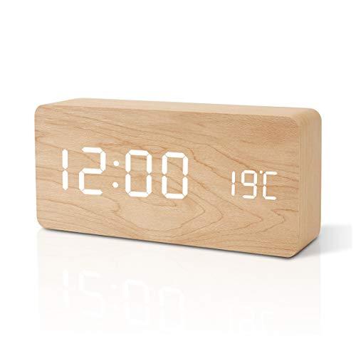 FiBiSonic Holz Tischuhr Wecker Uhr, LED Digitaler Wecker Standuhr mit Datum/Temperatur/USB/Batteriebetrieb Bambus Weiß