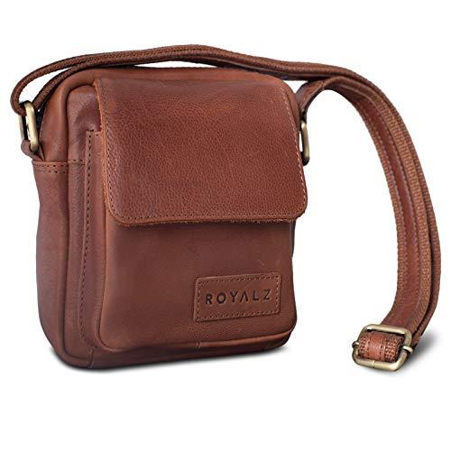 ROYALZ Umhängetasche Klein für Herren Leder Vintage Look Kleine Schultertasche Mini Seitentasche zum Umhängen, Farbe:Texas Braun