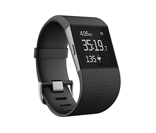 Fitbit Surge Smart Fitness Watch Superwatch Wireless Activity Tracker with Heart Rate Monitor, Black, Large (6.3-7.8 in) (Certified Refurbished)