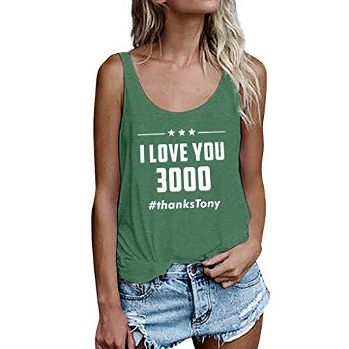 Camisetas Sin Mangas I Love You 3000 Nuevo Promociones Casual Tank Estampado De Tops Mujeres Tallas Grandes 2019 Chaleco