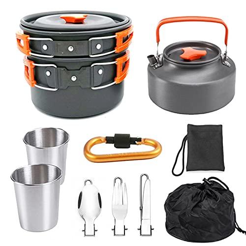 Juego de utensilios de cocina de 9 piezas, maciceros de camping de utensilios de cocina, senderismo en equipo de cocina al aire libre de picnic, para acampar al aire libre Senderismo picnic BBQ, ollas
