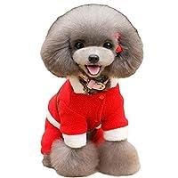 ペットの犬のパーティーの衣装プルオーバー、中小犬のための4本足のクリスマスコスチュームジャンプスーツ子犬のセーターパジャマクリスマスパターン