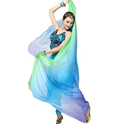 Doubleer Dégradé Voile Châle Visage châle Wrap Écharpe Femmes Danse Ventre Bollywood Costume