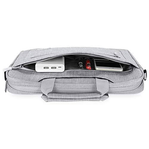 MOSISO Umhängetasche/Laptoptasche Kompatibel mit 15-15,6 Zoll MacBook Pro, Ultrabook Netbook Tablet, Polyester Schultertasche mit Verstellbarer Tiefe an der Unterseite, Hellgrau - 6