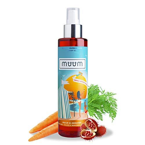 muum - Aceite Bronceador de Urucum y Zanahoria - Acelerador del Bronceado con Antioxidantes Naturales, Hidrata y previene manchas y arrugas - Bronceado de tono dorado y natural - 200 ml.
