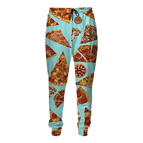DE-PEIJIAN Pepperoni Pizza Cheesy 3D Jogger Pants Unisex Freizeithose Pizza Jogginghose Pizza Cheesy 40