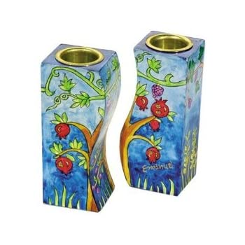 Jerusalem Fitted Shabbat Candlestick Holders Hand Painted By Yair Emanuel With Brass Candle Inserts Cominhkpr63136 Home Kitchen Kitchen Dining