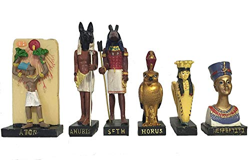Ancient Egypt Egyptian God set of 11 magazines with figurines resin statue size 5