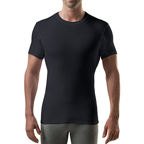 Thompson Tee - Anti-Schweiß Kurzarm-Unterhemd mit Achselschweiß-Polstern - Enge Passform - Rundhalsausschnitt - Black - Medium