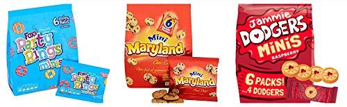 Mini Kekse Party Selektieren Pack. Jammie Dodgers, party Ringe, Maryland Choc Chip Cookie 19 klein beutel für Kinder Partys, butterbrotdosen, Snacks