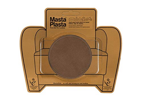 MastaPlasta Self-Adhesive Patch for Leather and Vinyl Repair, Large Circle, Suede Brown - 3 Inch