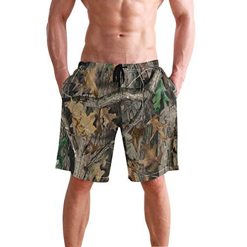 Mens Swim Trunks,Timber Realtree Leaves Beach Board Shorts with Pockets Casual Athletic Short XXL