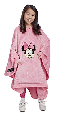 Jay Franco Disney Minnie Mouse Bows Throwbee – 2-in-1 Wearable Kids Plush Throw Blanket Poncho - Fade Resistant Polyester, 50' x 60' - (Offical Disney Product)