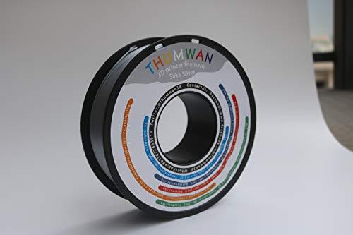 Filament PLA Silk + Silver 1,75 mm, THUMWAN New Filament Silk + PLA, 3D-Drucker Filament PLA für 3D-Drucker und 3D-Stift, 1 kg 1 Spool