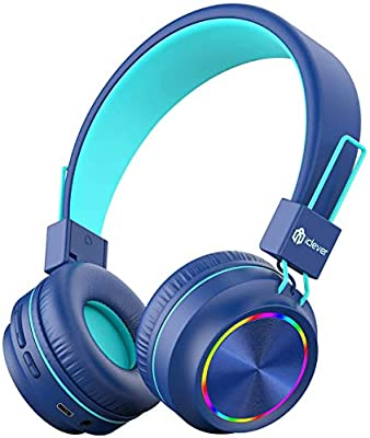 iClever Bluetooth Kids Headphones, Colorful Lights LED, Kids Headphones Wireless and Wired with MIC, Volume Control, Foldable, for PC iPad Tablet Kindle by iClever