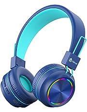 iClever Bluetooth hörlurar för barn, färgglada lampor LED, barnhörlurar trådlösa och trådbundna med mikrofon, volymkontroll, vikbar, för PC iPad surfplatta Kindle