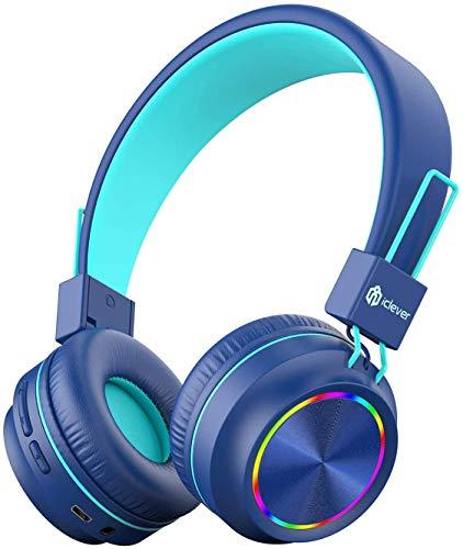 iClever Bluetooth Cuffie per bambini, Cuffie con luci colorate per bambini con microfono, Controllo del volume pieghevole, Cuffie sull'orecchio per bambini per tablet iPad Kindle
