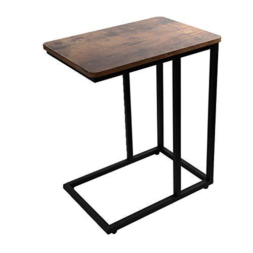 JPNTOYE Mesa auxiliar industrial en forma de C, mesa auxiliar para café portátil, mesa móvil con marco de acero para sala de estar, dormitorio, rústico marrón y negro