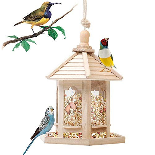 ZDYLM-Y Vogelfutterspender, Sechseckiger Pavillon-Vogelhäuschen mit hoher Kapazität, hölzerner Vogelhäuschen für den Patio im Freien