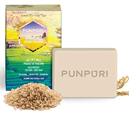 PUNPURI Jasmine Rice Milk Herbal Spa Bar Soap, moisturizing and Protecting Skin from Acne & Rash, 100g