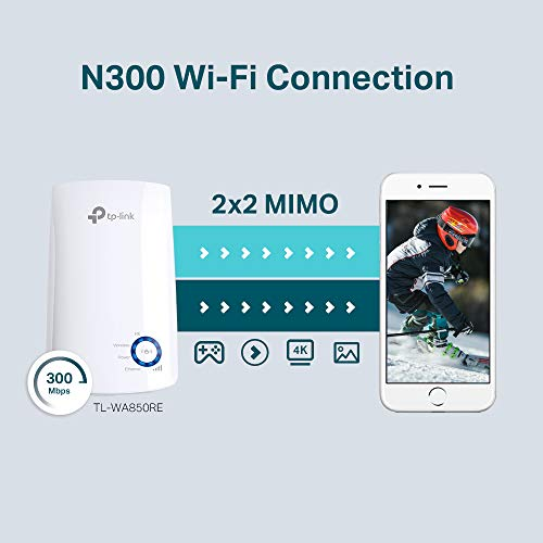 TP-Link TL-WA850RE N300 Universal Range Extender, Broadband/Wi-Fi Extender, Wi-Fi Booster/Hotspot with 1 Ethernet Port, Plug and Play, Built-in Access Point Mode, UK Plug, White