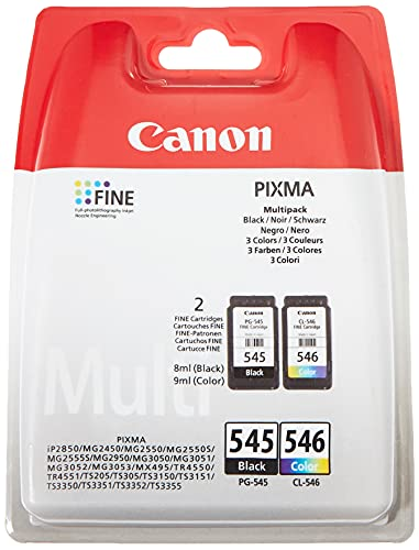 Canon PG-545+CL-546 Multipack tinta Negro/Tricolor Impresora Inyeccion tinta PiXMA MG2150-2155-2250-2255-3150/55-3250/55-3550-3650-3650S-4150-4250-MX375-395-435-455-475-515-525-535S-TS5150-5151
