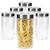 MamboCat 6tlg.-Set Vorratsglas Bera mit Edelstahldeckel Silber I Ø 11 cm I 1.7L I befüllbare Glasdosen I Runddosen I Aufbewahrungsbehälter