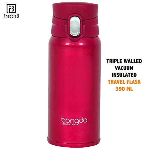 Frabble8 Triple Wall 390ML Vacuum Insulated Stainless Steel Bangda Travel Coffee Tea Flask Mug with Flip Lid Hot and Cold Upto 12hrs (Jazzy Pink)