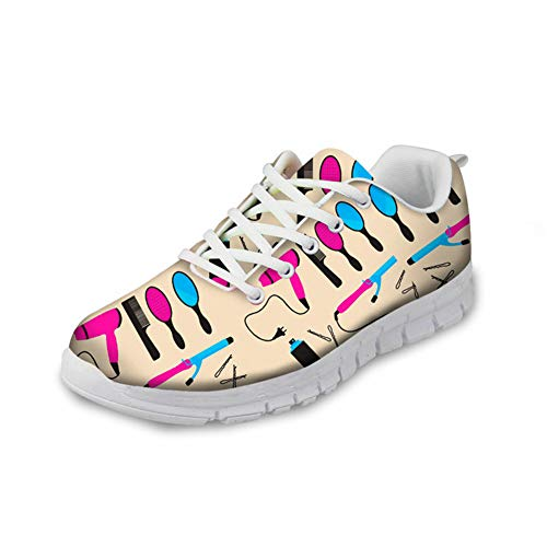 Hugs Idea modische Laufschuhe mit Cartoon-Muster, leicht, Schaumstoff, flache Schuhe für Sport, Laufen, Fitness, Joggen, - Friseur - Größe: 41 EU