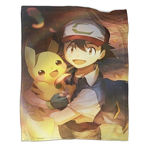 Mantas para sofá cama, silla, decoración de anime Pokemon Ash Ketchum, póster moderno y moderno para todas las estaciones, juego de ropa de cama de 130 x 180 cm