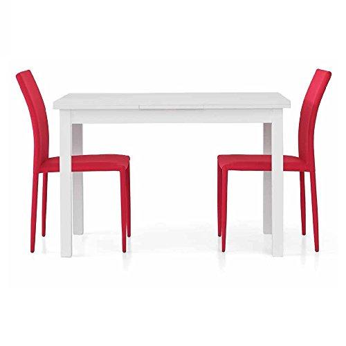InHouse srls Table Extensible Blanc Pore Ouvert comportant 2 rallonges DE 40 cm, Style Moderne, en MDF laminé Structure en Acier - Dim. 120 x 80 x 75