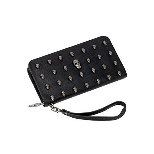 Pixnor Damenbrieftasche mit Reißverschluss und Henkel aus Kunstleder, Motiv: Schädel, Farbe: Schwarz