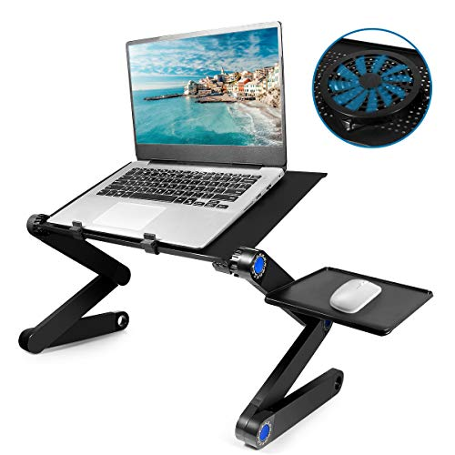 Laptop Table, Adjustable Laptop Bed Table, Laptop Computer Stand, Portable Laptop Workstation Notebook Stand Reading Holder with Large CPU Cooling Fan and Mouse Pad in Bed Couch Office Sofa