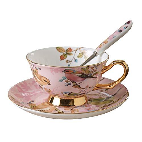 kerryshop Tazas para niños Hueso China Taza y platillo con Cuchara 8.5oz Vintage Taza de café de la Vendimia Copa de té Floral con Ajuste de Oro Comedor y decoración de Mesa Taza de té (Color : D)