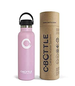 immagine di N C-Bottle - Bottiglia d'acqua in acciaio inox, 600 ml, con rivestimento interno in ceramica, senza BPA e cattivi sapori, bottiglia termica resistente e leggera, eco-Friendly..., Rosa, 600ml