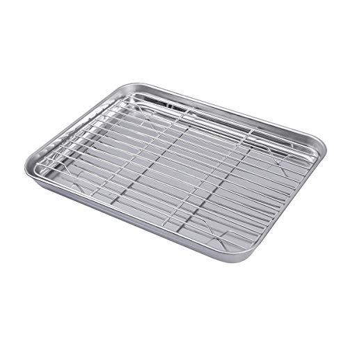 Hemoton - Juego de 2 bandejas rectangulares para hornear de acero inoxidable con estante de refrigeración extraíble, 26 x 20 x 2,5 cm