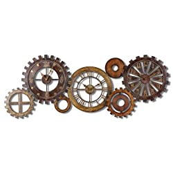 Intelligent Design Exposed Gears Multiple Wall Clock Collage | Long Brown Gold Silver