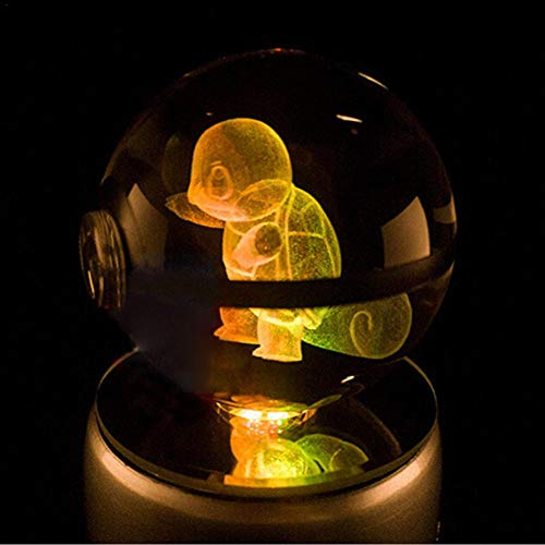 Boule de cristal LED 3D Laser Gravé Pokemon Verre Boule de couleur changeante Lampe de bureau Décoration Décoration de Valentine Anniversaire Cadeau Anniversaire