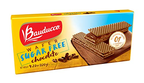 Bauducco Wafer Cookies - Enriched with Chocolate - Sugar Free Delicious & Crispy Wafers - 3 Creamy Layers - Great for Snacks & Dessert - No Artificial Flavors, 4.23oz (Pack of 3)