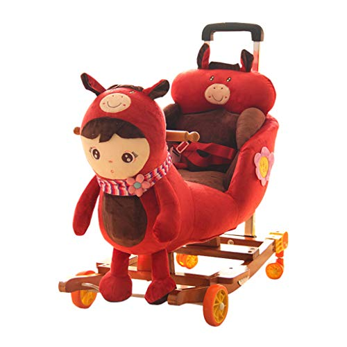 Cheval à bascule Rocking Chair Indoor Boy Girl Jouet Anniversaire Cadeau d'anniversaire Bascules HUYP (Color : Red)