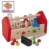 Eichhorn 100028103 - Werkzeugkasten 11x22x12cm, inkl. Werkzeug, Schrauben und Bauelementen, 30-tlg., FSC 100% Zertifiziertes Buchenholz, Made in Germany