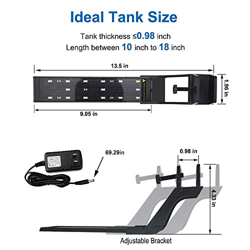 WOTERZI LED Aquarium Light Clip on Fish Tank Light with Adjustable Bracket for 10 - 18 Inch Freshwater Fish Tank, White and Blue LEDs