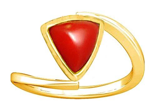 Divya Shakti Anillo triangular de coral rojo de 3,25 a 3,50 quilates (anillo Panchadhatu de piedra de Moonga/Munga) para mujer