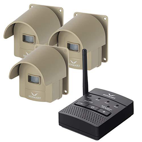 Hosmart 1/4 マイル 充電式 私道アラーム ワイヤレス センサー システム & 私道センサー アラートシステム 防水 セキュリティ アウトドア モーションセンサー & 検出器