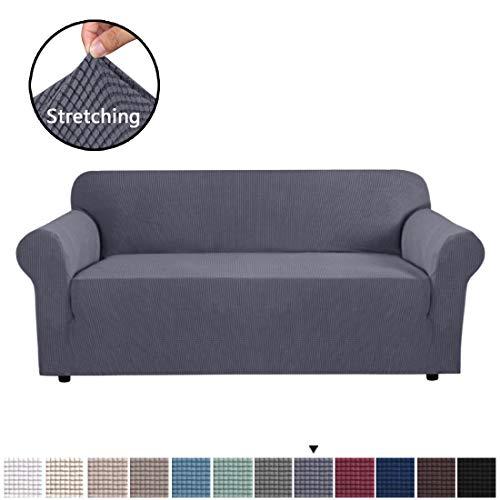 BellaHills 1 Stück Sofabezug Jacquard Stretch Sofa Schonbezug Übergroße Möbelbezug für Wohnzimmer, Form Gepaßte Rutschfestigkeit Maschinenwaschbar Lounge Abdeckung für 4 Sitzer (XL Sofa, Grau)