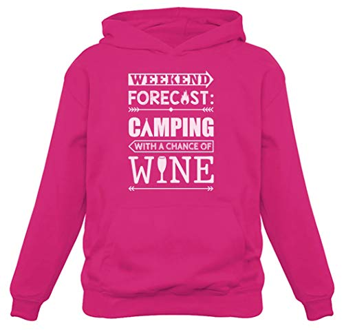Tstars Weekend Forecast Camping with Wine Funny Camping Gift Women Hoodie Large Pink