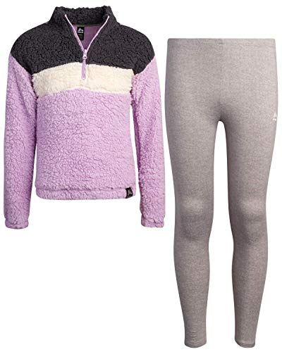 RBX Girls' Activewear Tracksuit Set - Sherpa Fleece Quarter-Zip Pullover Performance Sweatshirt and Track Sweatpants, Size 10/12, Lilac