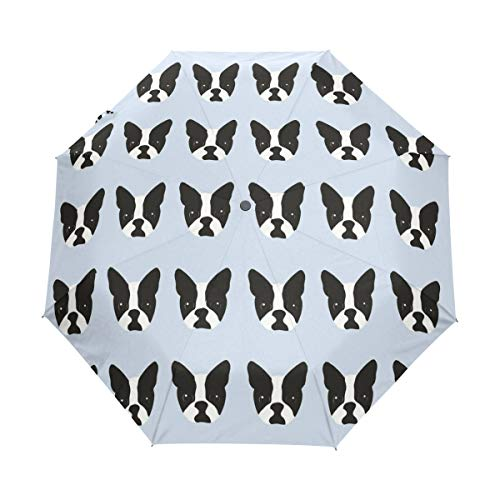 Ainans Cute Boston Terrier My Best Friend Compact Travel Umbrella, Outdoor Rain Sun Car Folding Umbrellas for Windproof, Reinforced Canopy, UV Protection, Ergonomic Handle, Auto Open/Close