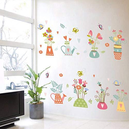 Gudojk dc18 Wandstickers, kleurrijk, bloempot, afneembaar, wandsticker, voor slaapkamer, woonkamer, ramen, decoratie thuis, kunst, muurstickers