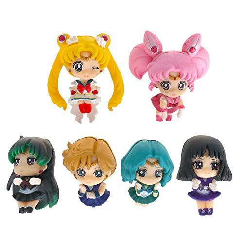 CoolChange Sailor Moon Mini Chibi Deko Figuren der Sailor Kriegerinnen, 6 STK. z.B. für Tassen